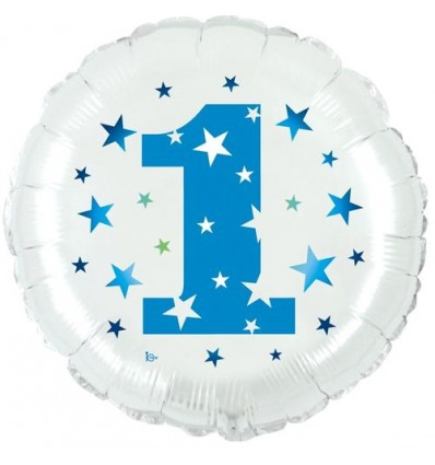 Mylar 1¡ Compleanno Celeste 18""