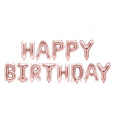 Scritta Happy Birthday rosa gold