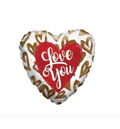 Palloncini cuore rosso Love you 18 inch