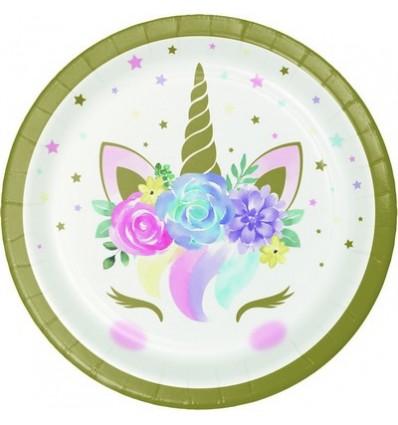 Piatti 23 cm Unicorno pastello