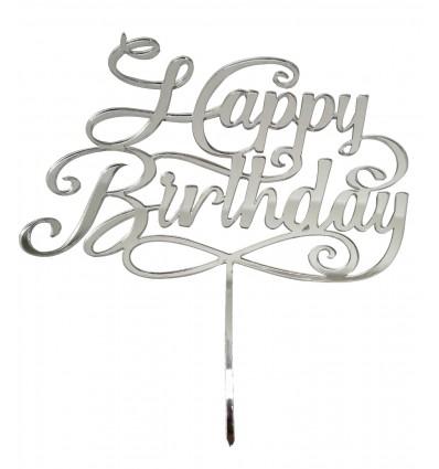Cake topper Happy Birthday Oro Plexiglass