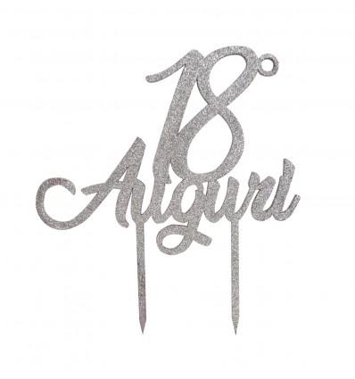 Cake topper Buon compleanno Argento Plexiglass