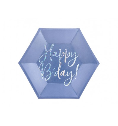 Piatti esagonali Happy Birthday Blu