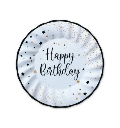 8 piatti 25 cm Happy Birthday nero e bianco