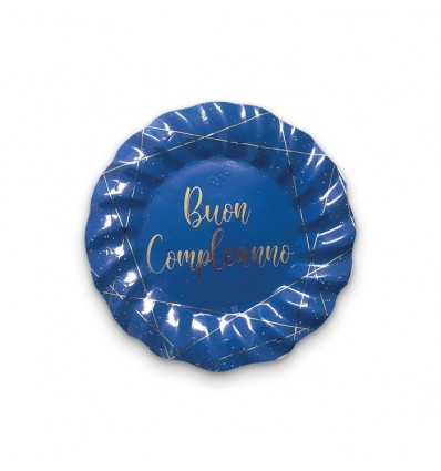 8 piatti 25 cm Buon compleanno blu gold