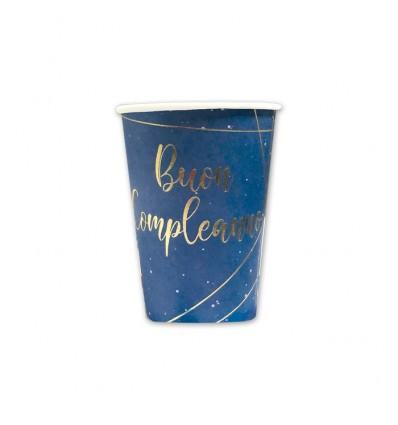 8 piatti 20 cm Buon compleanno blu gold