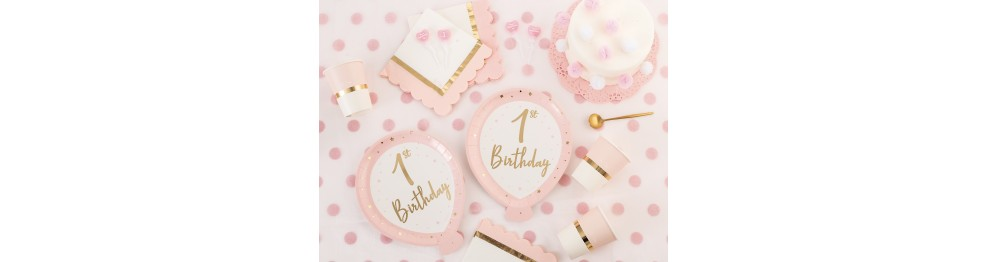 Primo compleanno Baby chic rosa