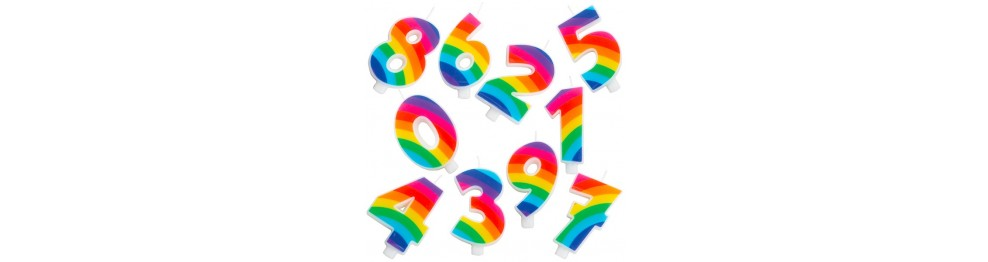 Numerazione Candeline Rainbow Party
